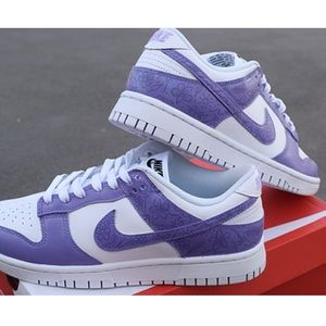 One of a kind, Hand Painted Purple Nike Dunks.
